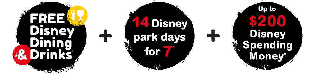 FREE Disney Dining & Drinks**, 14 Disney Park Days for the price of 8, $200 Disney Free Gift Card^, Lowest price promise*