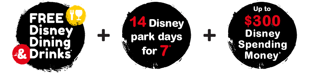 FREE Disney Dining & Drinks**, 14 Disney Park Days for the price of 8, $300 Disney Free Gift Card^, Lowest price promise*