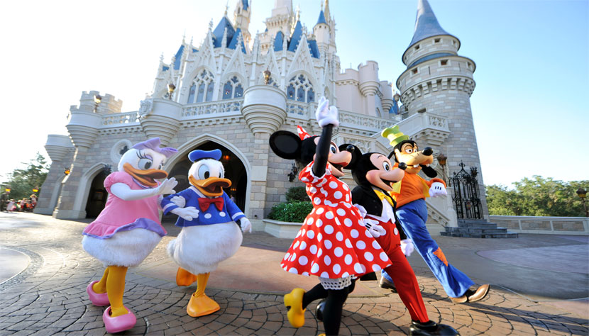 Disney Characters outside the Cinderella Castle at Disney World Florida