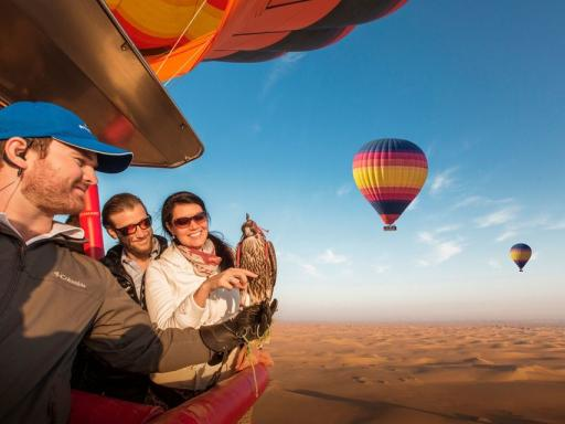 Dubai Hot Air Balloon Flight with Falconry and Desert Breakfast