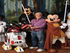 George Lucas at Disney World with Mickey