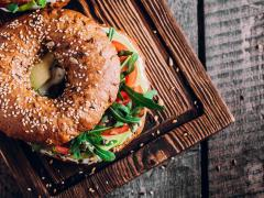 healthy bagel on a chopping board