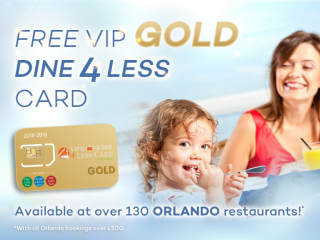 Free Orlando VIP Shop & Dine 4 Less Card GOLD