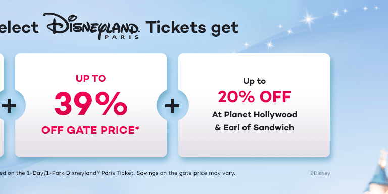 Save up to 39% on Disneyland Paris Tickets